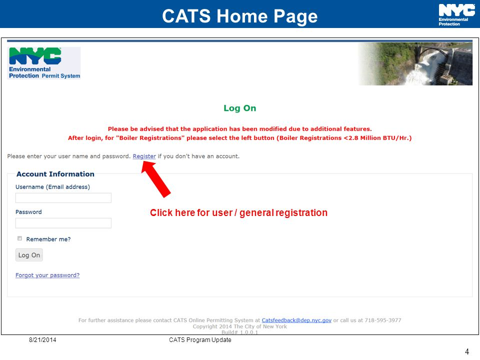 5 8/21/2014CATS Program Update New Applicant & Feature Selection  Register  Activate Account  Login