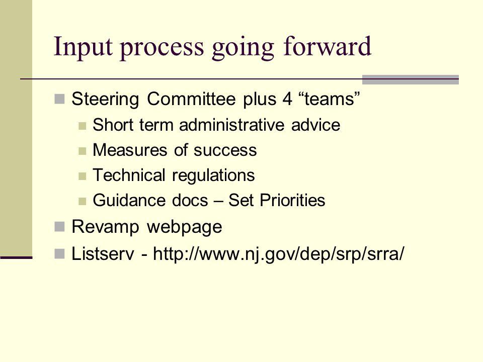 Input process going forward Steering Committee plus 4 teams Short term administrative advice Measures of success Technical regulations Guidance docs – Set Priorities Revamp webpage Listserv - http://www.nj.gov/dep/srp/srra/