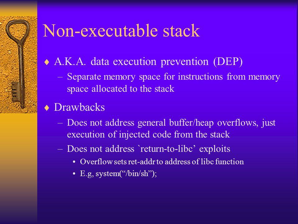 Non-executable stack  A.K.A.