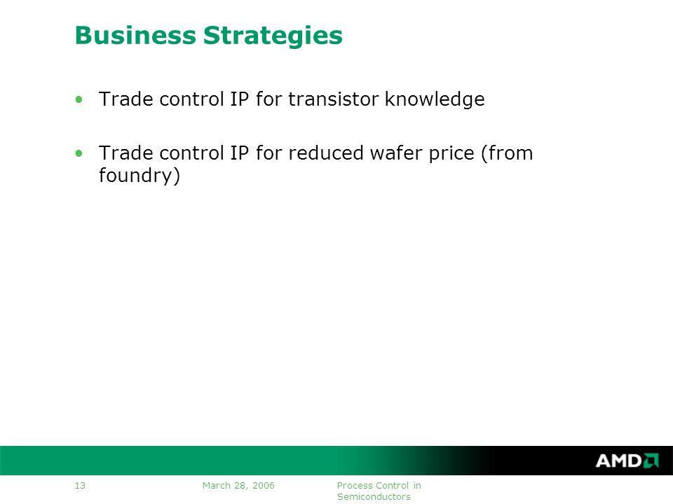 March 28, 2006Process Control in Semiconductors 13 Business Strategies Trade control IP for transistor knowledge Trade control IP for reduced wafer price (from foundry)