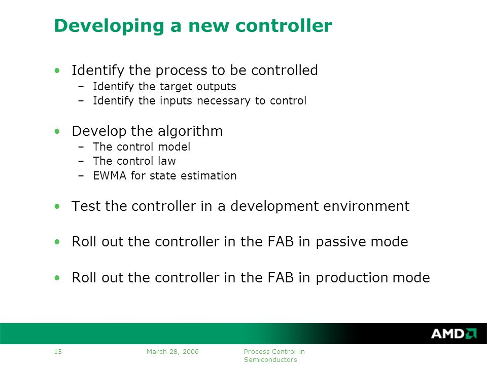 March 28, 2006Process Control in Semiconductors 15 Developing a new controller Identify the process to be controlled –Identify the target outputs –Identify the inputs necessary to control Develop the algorithm –The control model –The control law –EWMA for state estimation Test the controller in a development environment Roll out the controller in the FAB in passive mode Roll out the controller in the FAB in production mode