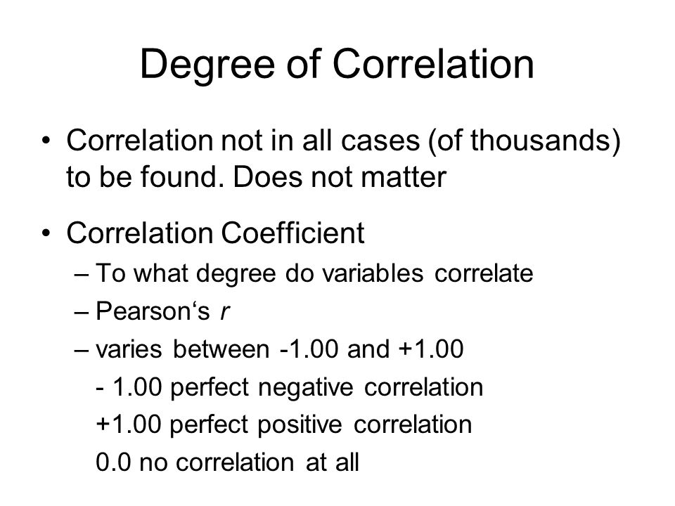 Degree of Correlation Correlation not in all cases (of thousands) to be found.