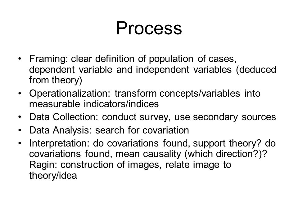 Process Framing: clear definition of population of cases, dependent variable and independent variables (deduced from theory) Operationalization: transform concepts/variables into measurable indicators/indices Data Collection: conduct survey, use secondary sources Data Analysis: search for covariation Interpretation: do covariations found, support theory.