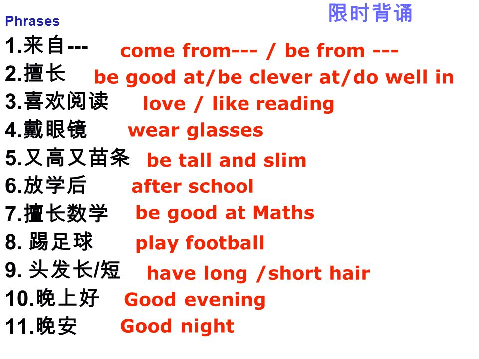 Phrases 1. 来自 --- 2. 擅长 3. 喜欢阅读 4. 戴眼镜 5. 又高又苗条 6. 放学后 7. 擅长数学 8. 踢足球 9. 头发长 / 短 10. 晚上好 11. 晚安 come from--- / be from --- be good at/be clever at/do