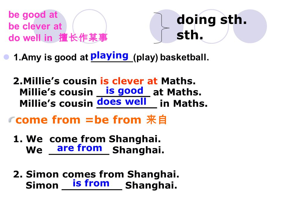 be good at be clever at do well in 擅长作某事 1.Amy is good at ________(play) basketball.