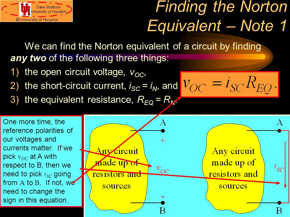 Finding the Norton Equivalent – Note 1 We can find the Norton equivalent of a circuit by finding any two of the following three things: 1)the open cir