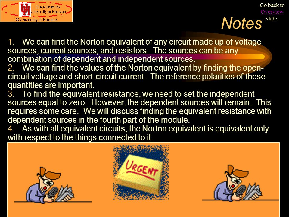 Notes 1.We can find the Norton equivalent of any circuit made up of voltage sources, current sources, and resistors. The sources can be any combinatio