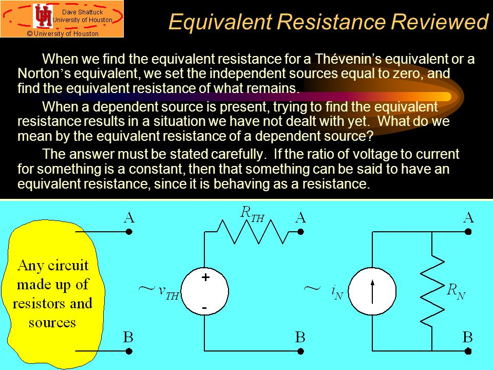 Equivalent Resistance Reviewed When we find the equivalent resistance for a Thévenin's equivalent or a Norton ' s equivalent, we set the independent s