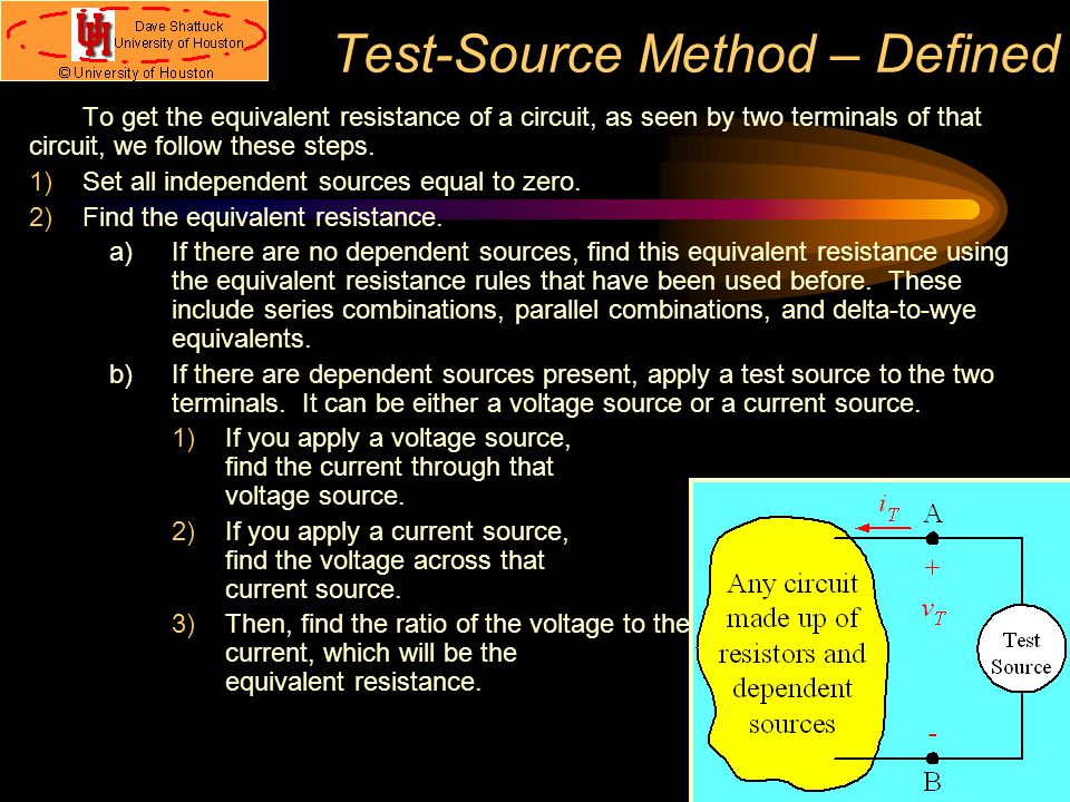 Test-Source Method – Defined To get the equivalent resistance of a circuit, as seen by two terminals of that circuit, we follow these steps. 1)Set all