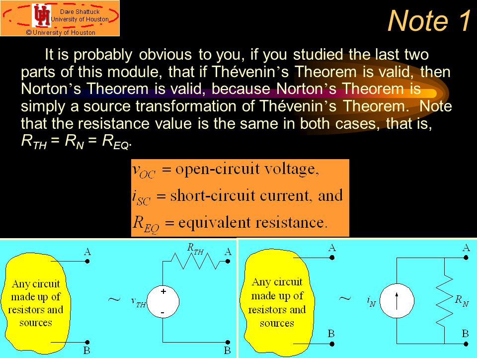 Note 1 It is probably obvious to you, if you studied the last two parts of this module, that if Thévenin ' s Theorem is valid, then Norton ' s Theorem