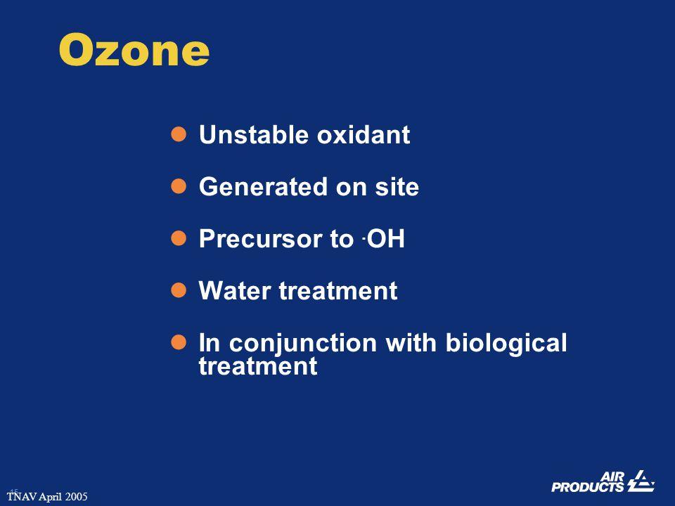15 TNAV April 2005 Ozone Unstable oxidant Generated on site Precursor to.