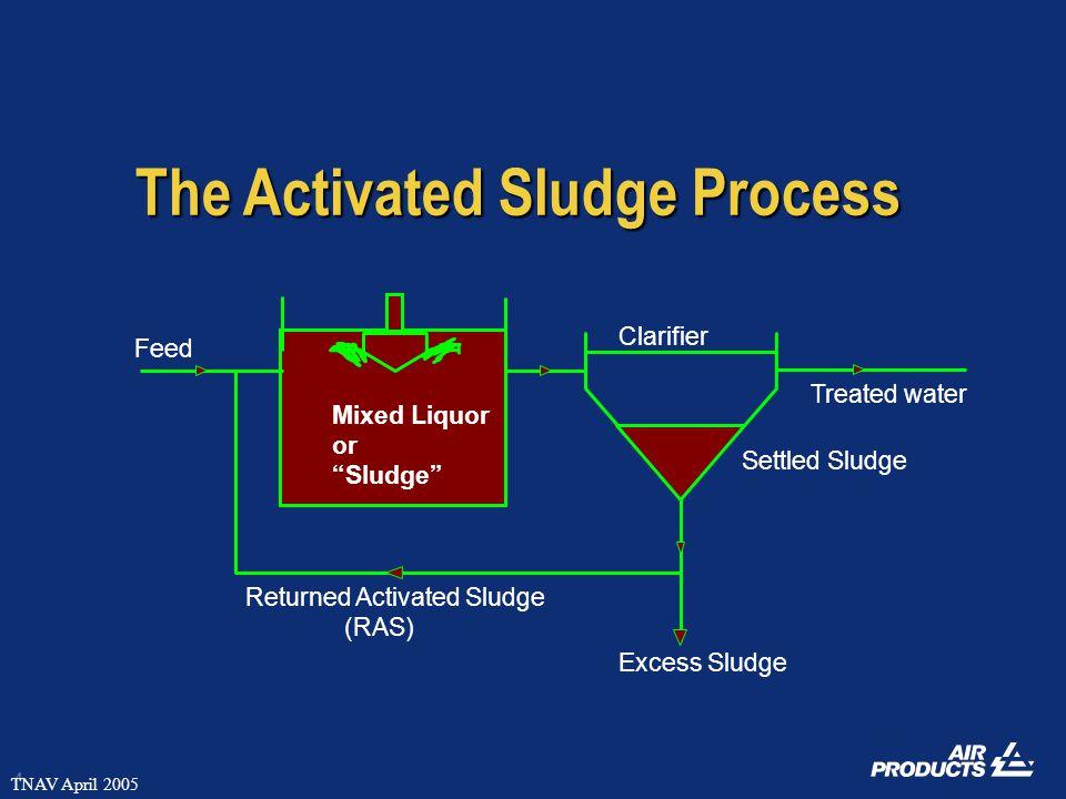 4 TNAV April 2005 Treated water Excess Sludge Clarifier Feed Mixed Liquor or Sludge Returned Activated Sludge (RAS) Settled Sludge The Activated Sludge Process