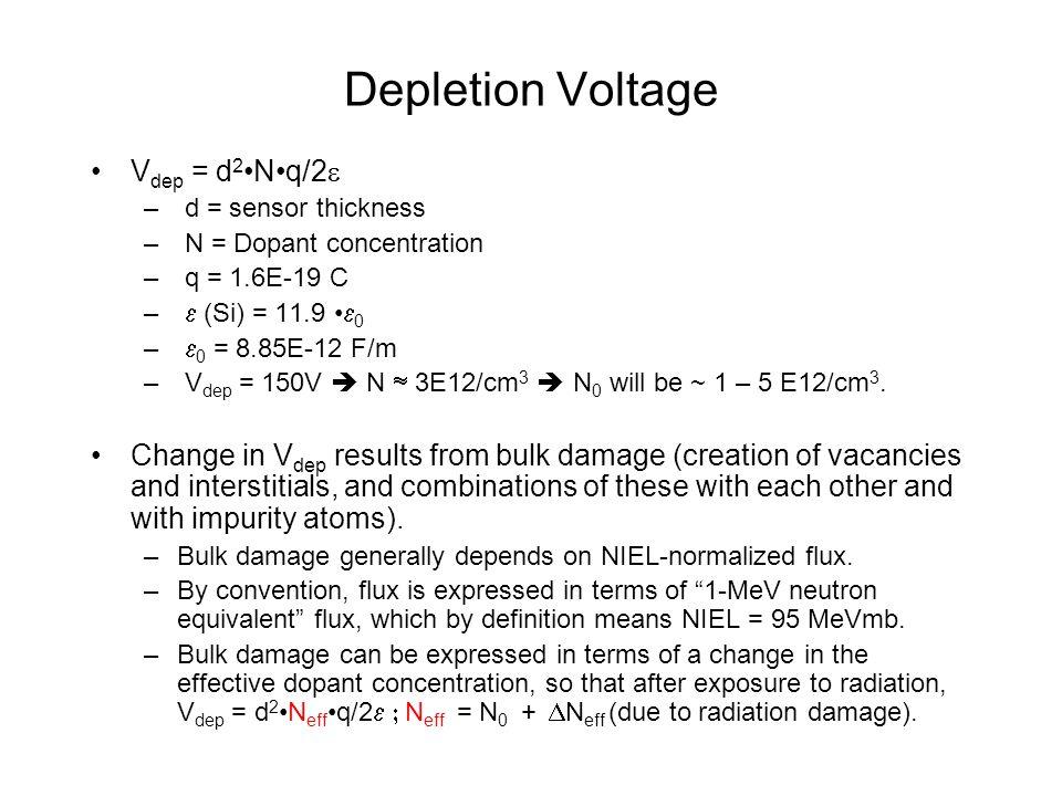 Depletion Voltage V dep = d 2 Nq/2  – d = sensor thickness – N = Dopant concentration – q = 1.6E-19 C –  (Si) = 11.9  0 –  0 = 8.85E-12 F/m – V dep = 150V  N  3E12/cm 3  N 0 will be ~ 1 – 5 E12/cm 3.