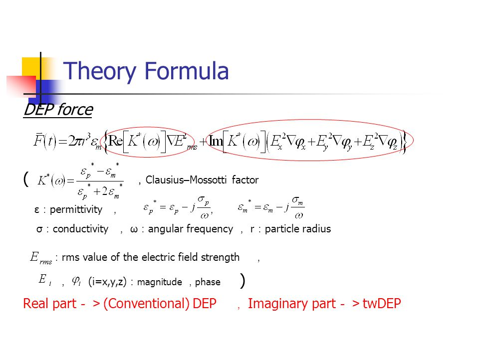 Theory Formula DEP force ( , Clausius – Mossotti factor ε : permittivity , , σ : conductivity , ω : angular frequency , r : particle radius : rms value of the electric field strength , , (i=x,y,z) : magnitude , phase ) Real part -> (Conventional) DEP , Imaginary part -> twDEP