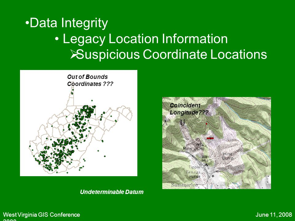 June 11, 2008West Virginia GIS Conference 2008 Out of Bounds Coordinates ??? Coincident Longitude??? Undeterminable Datum Data Integrity Legacy Locati
