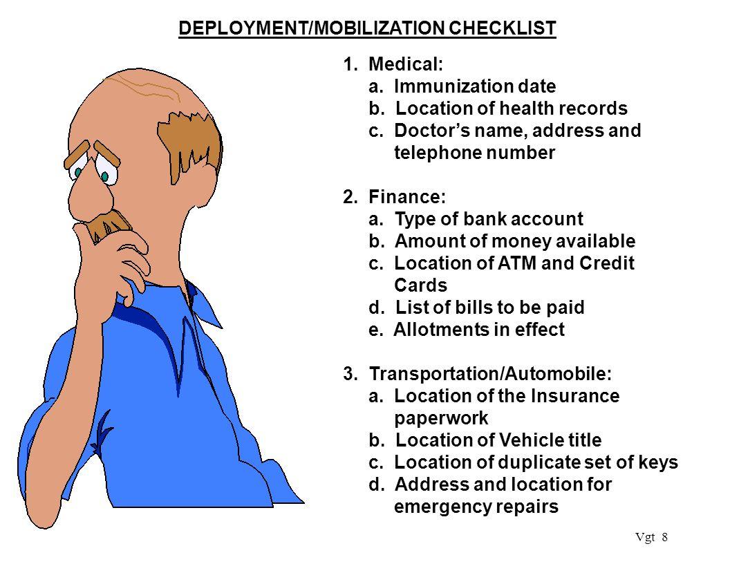 Vgt 8 DEPLOYMENT/MOBILIZATION CHECKLIST 1. Medical: a.