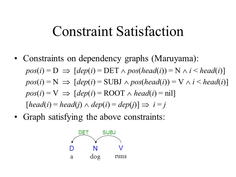 Constraint Satisfaction Constraints on dependency graphs (Maruyama): pos(i) = D  [dep(i) = DET  pos(head(i)) = N  i < head(i)] pos(i) = N  [dep(i) = SUBJ  pos(head(i)) = V  i < head(i)] pos(i) = V  [dep(i) = ROOT  head(i) = nil] [head(i) = head(j)  dep(i) = dep(j)]  i = j Graph satisfying the above constraints: DaDa N dog V runs SUBJDET