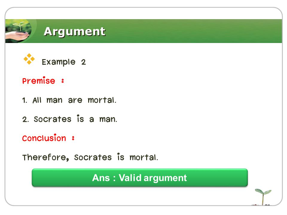 Argument  Example 2 Premise : 1. All man are mortal.