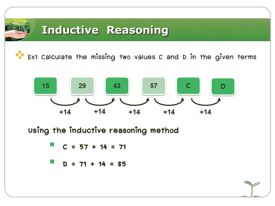 Inductive Reasoning  Ex1 Calculate the missing two values C and D in the given terms Using the inductive reasoning method  C = 57 + 14 = 71  D = 71 + 14 = 85 15 29 43 57 C C D D +14