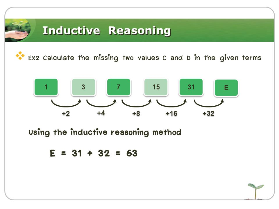 Inductive Reasoning  Ex2 Calculate the missing two values C and D in the given terms Using the inductive reasoning method E = 31 + 32 = 63 1 1 3 3 7 7 15 31 E E +2 +4 +8 +16 +32