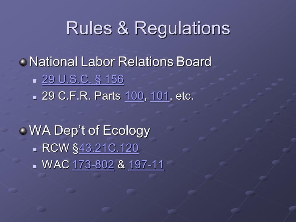Rules & Regulations National Labor Relations Board 29 U.S.C.