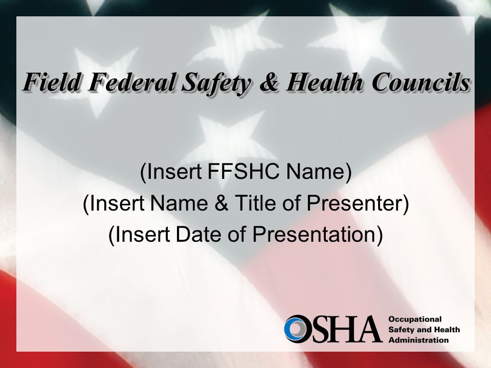 Field Federal Safety & Health Councils (Insert FFSHC Name) (Insert Name & Title of Presenter) (Insert Date of Presentation)