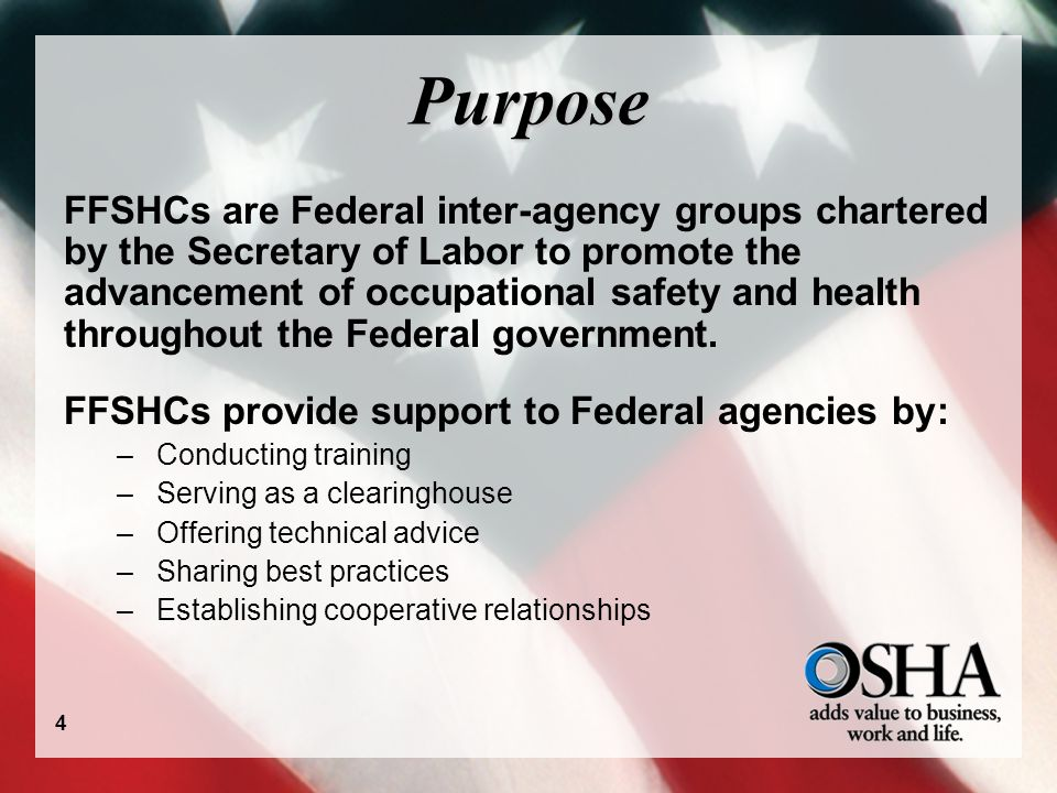 Purpose FFSHCs are Federal inter-agency groups chartered by the Secretary of Labor to promote the advancement of occupational safety and health throughout the Federal government.
