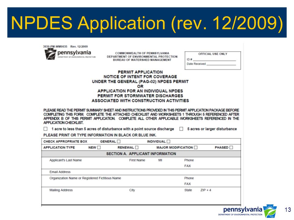 13 NPDES Application (rev. 12/2009)