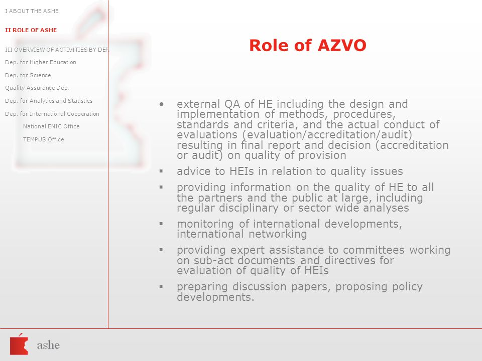 Role of AZVO external QA of HE including the design and implementation of methods, procedures, standards and criteria, and the actual conduct of evaluations (evaluation/accreditation/audit) resulting in final report and decision (accreditation or audit) on quality of provision  advice to HEIs in relation to quality issues  providing information on the quality of HE to all the partners and the public at large, including regular disciplinary or sector wide analyses  monitoring of international developments, international networking  providing expert assistance to committees working on sub-act documents and directives for evaluation of quality of HEIs  preparing discussion papers, proposing policy developments.