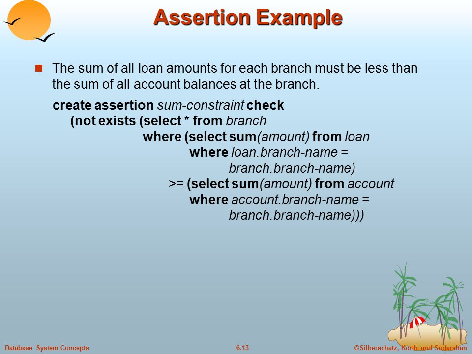 ©Silberschatz, Korth and Sudarshan6.13Database System Concepts Assertion Example The sum of all loan amounts for each branch must be less than the sum of all account balances at the branch.