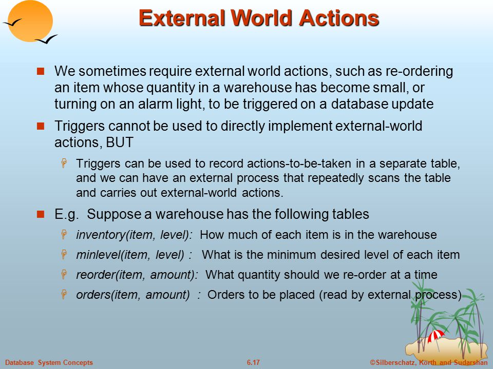 ©Silberschatz, Korth and Sudarshan6.17Database System Concepts External World Actions We sometimes require external world actions, such as re-ordering an item whose quantity in a warehouse has become small, or turning on an alarm light, to be triggered on a database update Triggers cannot be used to directly implement external-world actions, BUT  Triggers can be used to record actions-to-be-taken in a separate table, and we can have an external process that repeatedly scans the table and carries out external-world actions.