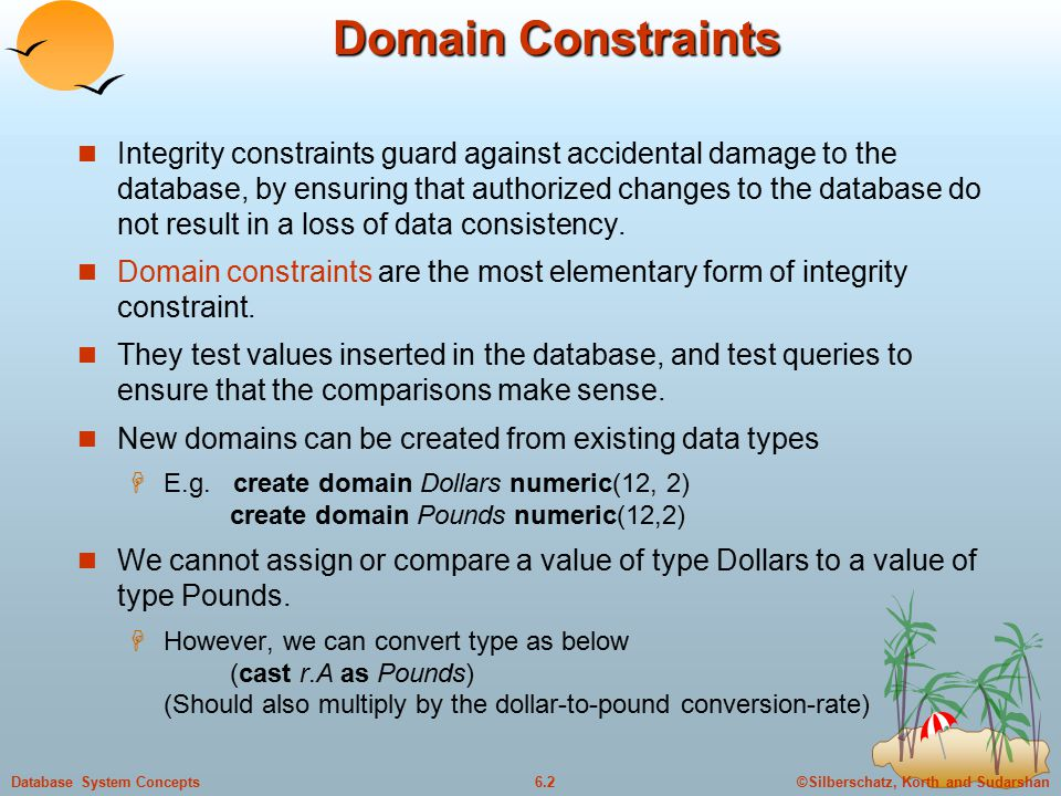 ©Silberschatz, Korth and Sudarshan6.2Database System Concepts Domain Constraints Integrity constraints guard against accidental damage to the database, by ensuring that authorized changes to the database do not result in a loss of data consistency.