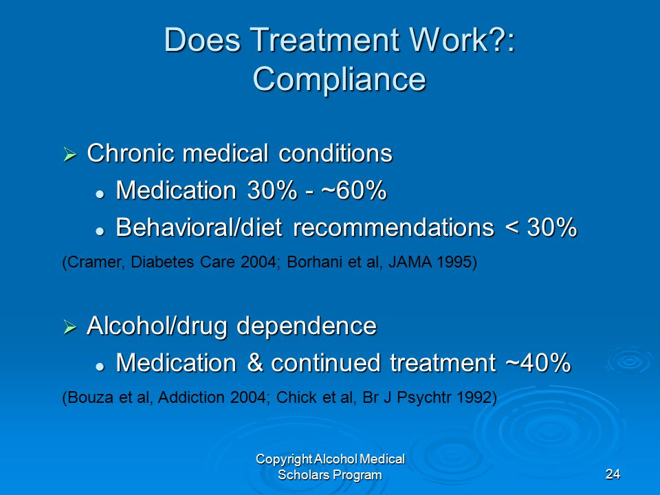 Copyright Alcohol Medical Scholars Program24 Does Treatment Work?: Compliance  Chronic medical conditions Medication 30% - ~60% Medication 30% - ~60%