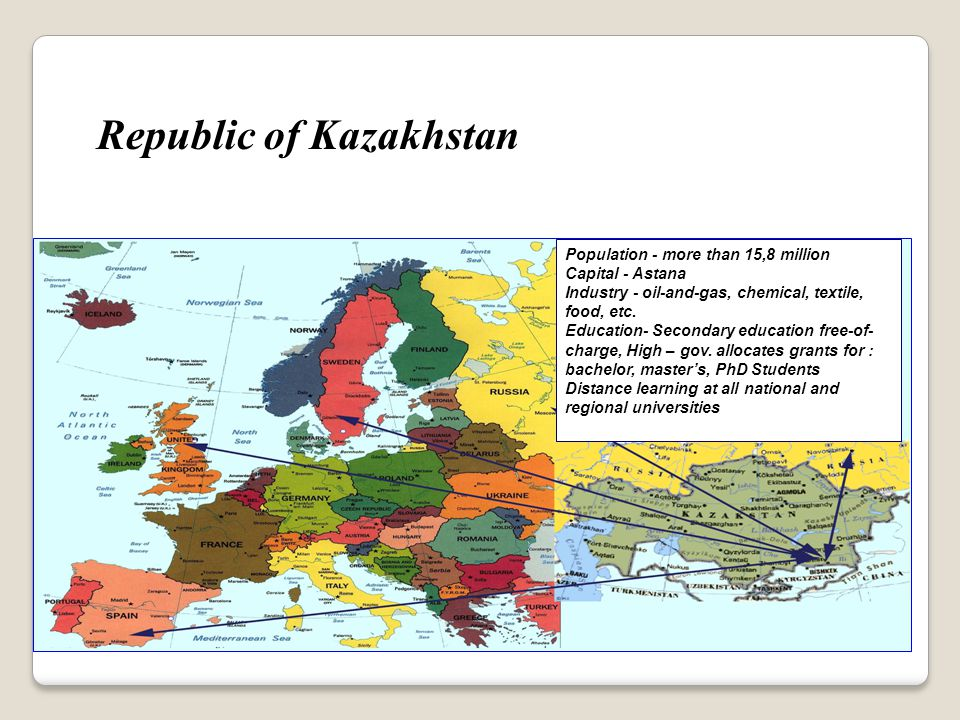 Republic of Kazakhstan Population - more than 15,8 million Capital - Astana Industry - oil-and-gas, chemical, textile, food, etc.