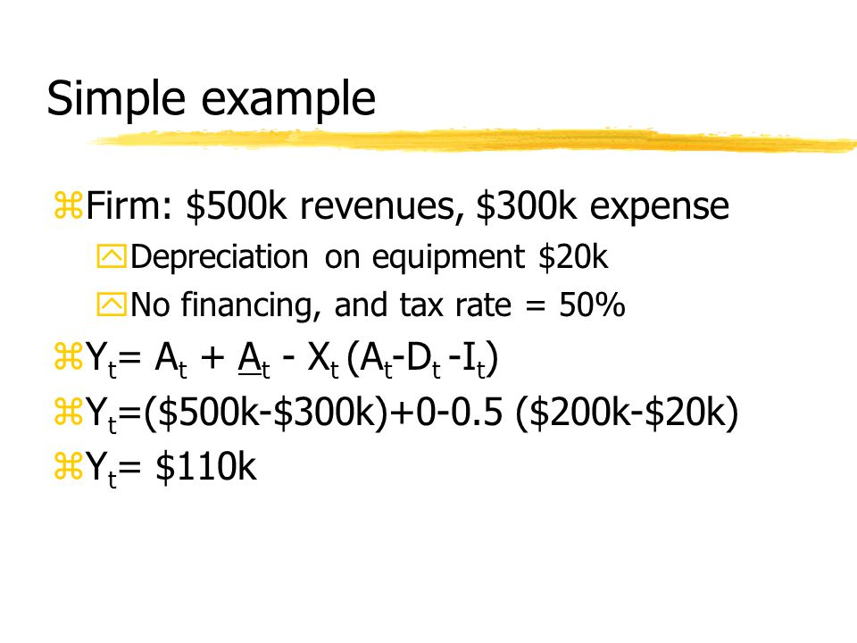 Simple example zFirm: $500k revenues, $300k expense yDepreciation on equipment $20k yNo financing, and tax rate = 50% zY t = A t + A t - X t (A t -D t -I t ) zY t =($500k-$300k)+0-0.5 ($200k-$20k) zY t = $110k
