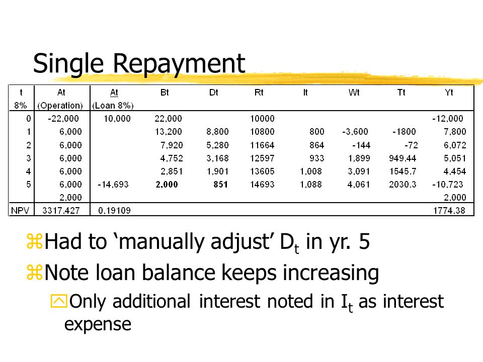 Single Repayment zHad to 'manually adjust' D t in yr.