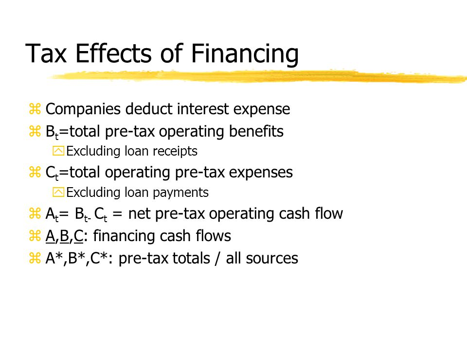 Tax Effects of Financing zCompanies deduct interest expense zB t =total pre-tax operating benefits yExcluding loan receipts zC t =total operating pre-tax expenses yExcluding loan payments zA t = B t- C t = net pre-tax operating cash flow zA,B,C: financing cash flows zA*,B*,C*: pre-tax totals / all sources