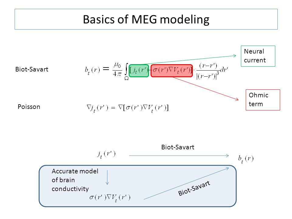 Basics of MEG modeling Biot-Savart Neural current Ohmic term Biot-Savart Accurate model of brain conductivity Poisson