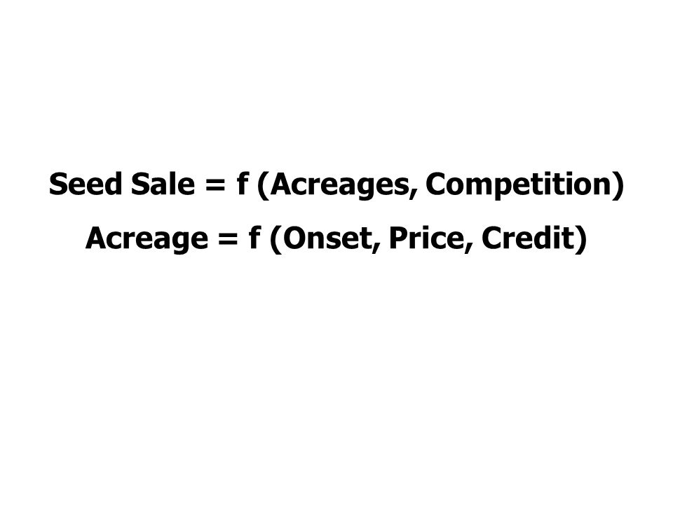 Seed Sale = f (Acreages, Competition) Acreage = f (Onset, Price, Credit)