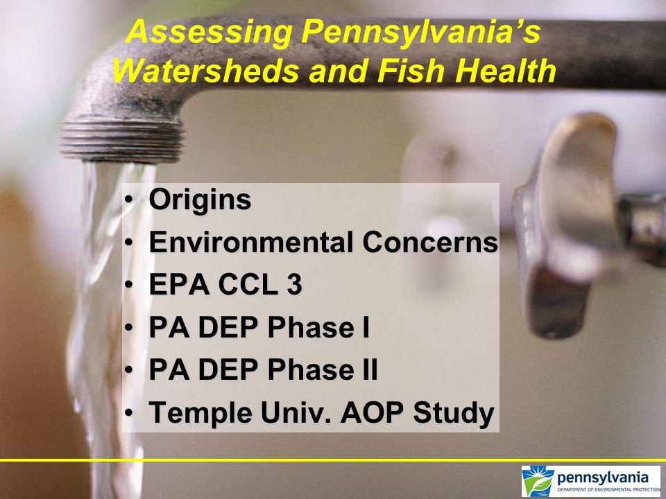 Assessing Pennsylvania's Watersheds and Fish Health OriginsOrigins Environmental ConcernsEnvironmental Concerns EPA CCL 3EPA CCL 3 PA DEP Phase IPA DE