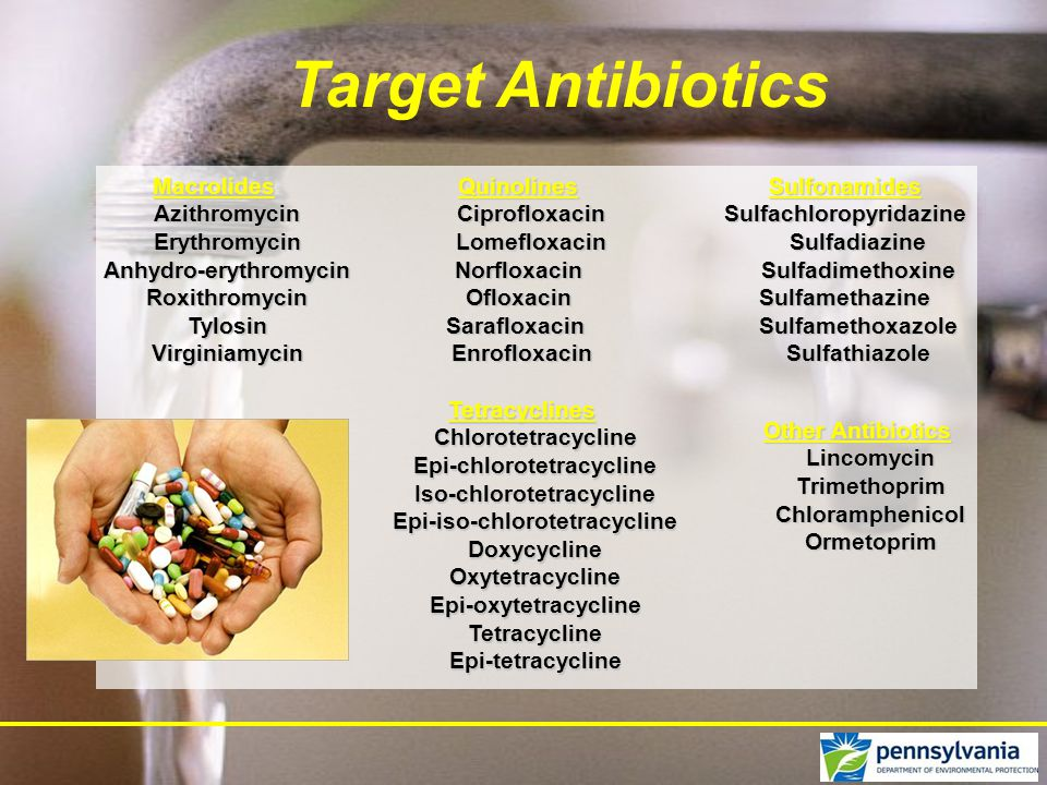 Target Antibiotics Macrolides Azithromycin Erythromycin Anhydro-erythromycin Anhydro-erythromycin Roxithromycin Roxithromycin Tylosin Tylosin Virginiamycin VirginiamycinQuinolines Ciprofloxacin Lomefloxacin LomefloxacinNorfloxacinOfloxacinSarafloxacin Enrofloxacin EnrofloxacinSulfonamidesSulfachloropyridazine Sulfadiazine Sulfadiazine Sulfadimethoxine SulfadimethoxineSulfamethazine Sulfamethoxazole Sulfamethoxazole Sulfathiazole Sulfathiazole Tetracyclines Chlorotetracycline Epi-chlorotetracycline Epi-chlorotetracycline Iso-chlorotetracycline Iso-chlorotetracycline Epi-iso-chlorotetracycline Epi-iso-chlorotetracycline Doxycycline Doxycycline Oxytetracycline Oxytetracycline Epi-oxytetracycline Epi-oxytetracycline Tetracycline Tetracycline Epi-tetracycline Epi-tetracycline Other Antibiotics Lincomycin Trimethoprim Trimethoprim Chloramphenicol Chloramphenicol Ormetoprim Ormetoprim