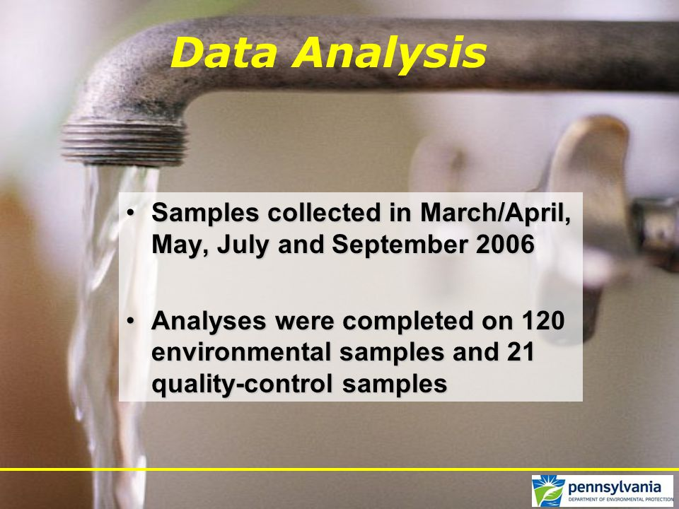 Data Analysis Samples collected in March/April, May, July and September 2006Samples collected in March/April, May, July and September 2006 Analyses were completed on 120 environmental samples and 21 quality-control samplesAnalyses were completed on 120 environmental samples and 21 quality-control samples