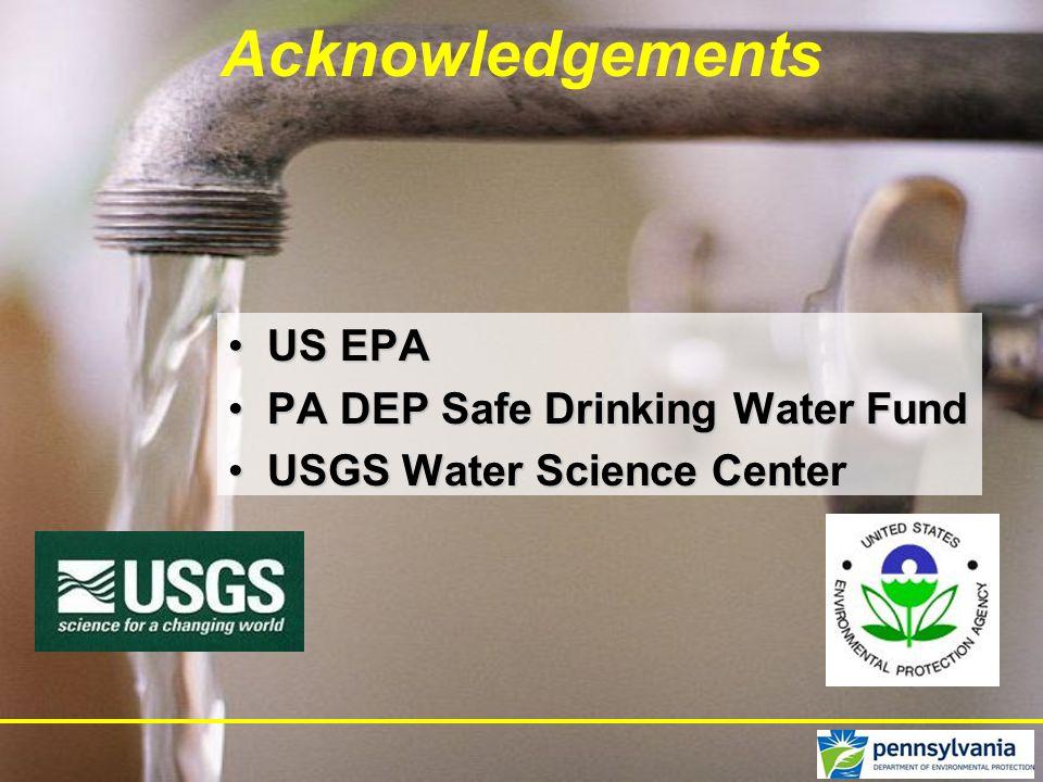 Acknowledgements US EPAUS EPA PA DEP Safe Drinking Water FundPA DEP Safe Drinking Water Fund USGS Water Science CenterUSGS Water Science Center