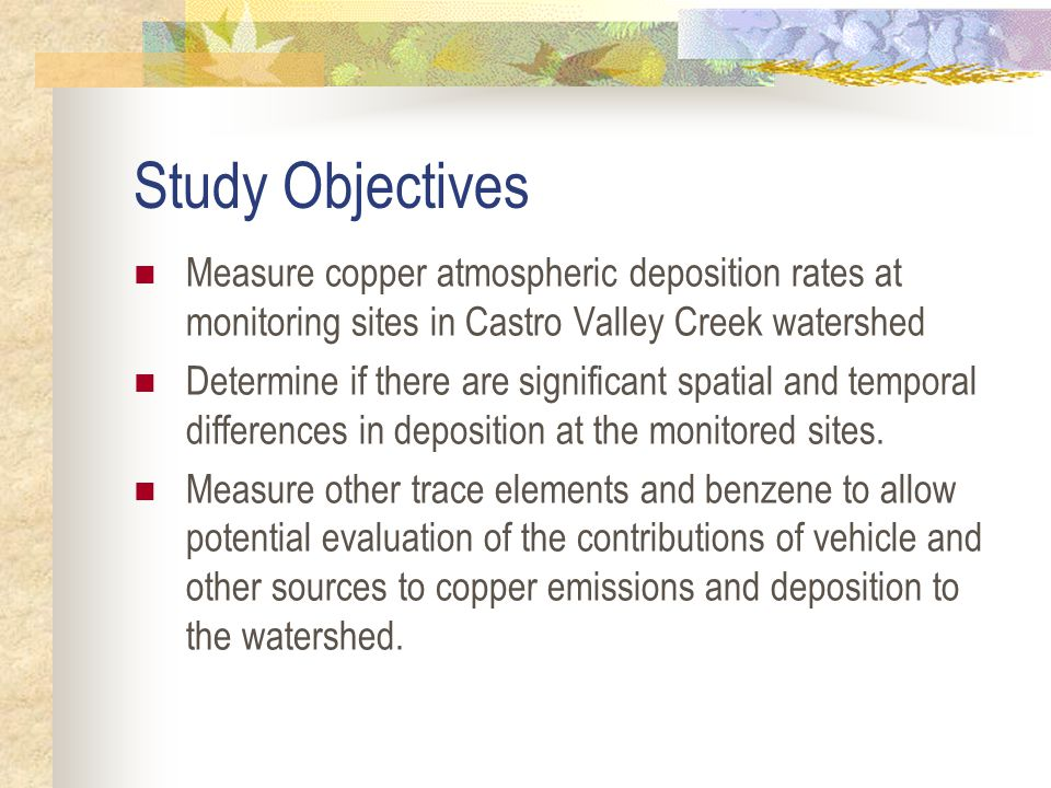 Benzene & Copper Vehicle sources, but different processes Benzene generation & emissions during vehicle operation Copper particle generation from braking Copper resuspension from many surfaces Different phases & transport Copper on large particles drops rapidly Only gaseous benzene measured Useful for evaluating different aspects of air model
