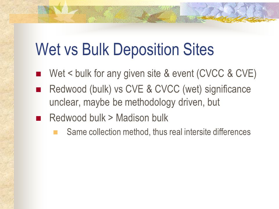 Issues for Interpretation Comparability wet vs bulk deposition sites Bulk vs total (wet+dry) deposition Differences in site geometry Relationship of benzene and copper