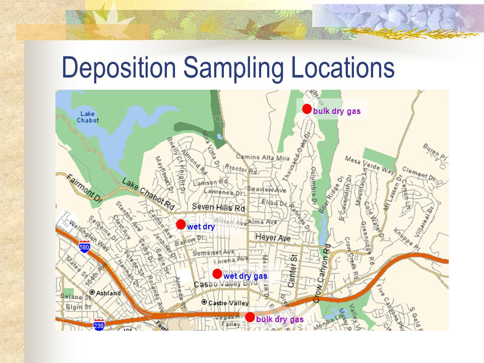 Study Objectives Measure copper atmospheric deposition rates at monitoring sites in Castro Valley Creek watershed Determine if there are significant spatial and temporal differences in deposition at the monitored sites.