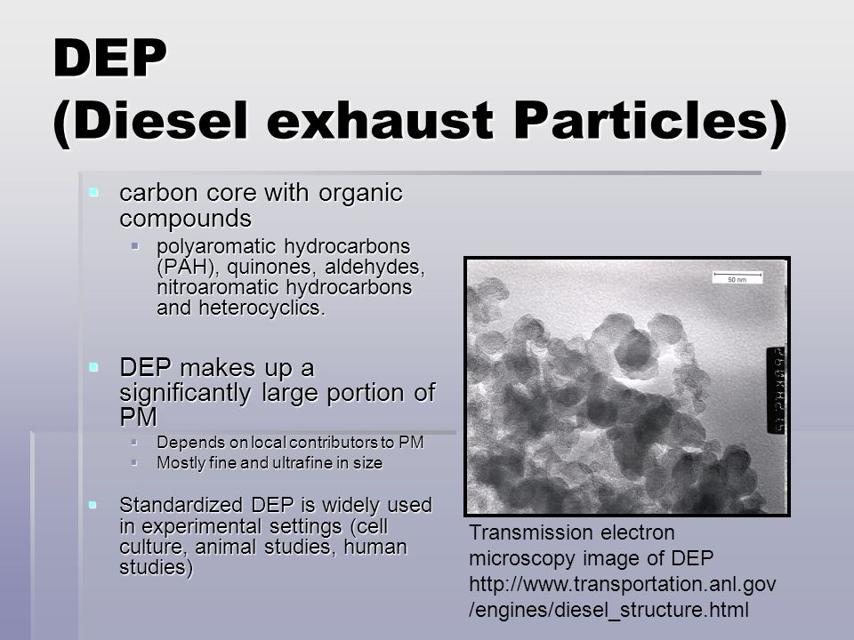 DEP (Diesel exhaust Particles)  carbon core with organic compounds  polyaromatic hydrocarbons (PAH), quinones, aldehydes, nitroaromatic hydrocarbons and heterocyclics.