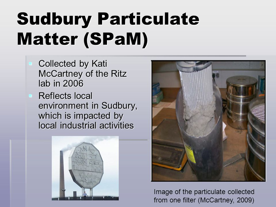 Sudbury Particulate Matter (SPaM)  Collected by Kati McCartney of the Ritz lab in 2006  Reflects local environment in Sudbury, which is impacted by local industrial activities Image of the particulate collected from one filter (McCartney, 2009)