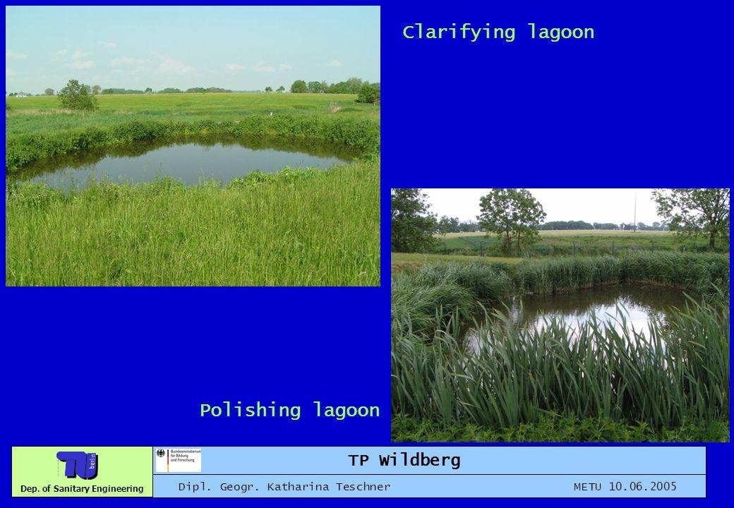 Dep. of Sanitary Engineering TP Wildberg Dipl. Geogr. Katharina Teschner METU 10.06.2005 Clarifying lagoon Polishing lagoon