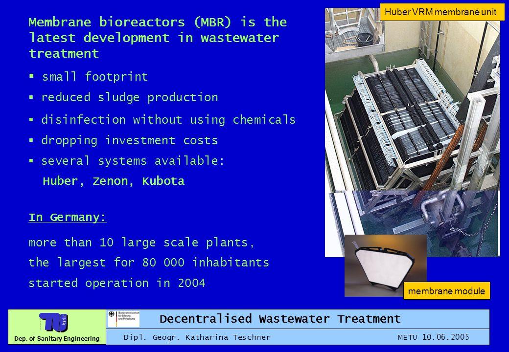 Dep. of Sanitary Engineering Decentralised Wastewater Treatment Dipl. Geogr. Katharina Teschner METU 10.06.2005 Huber VRM membrane unit membrane modul